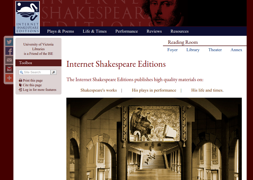 Screenshot of the Internet Shakespeare