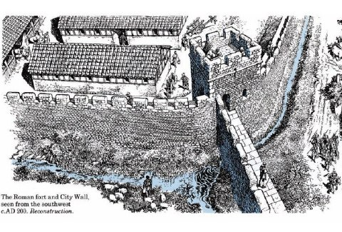 Sketch of what the Roman Wall might have looked like circa 200 C.E. Image courtesy of the Historic UK.