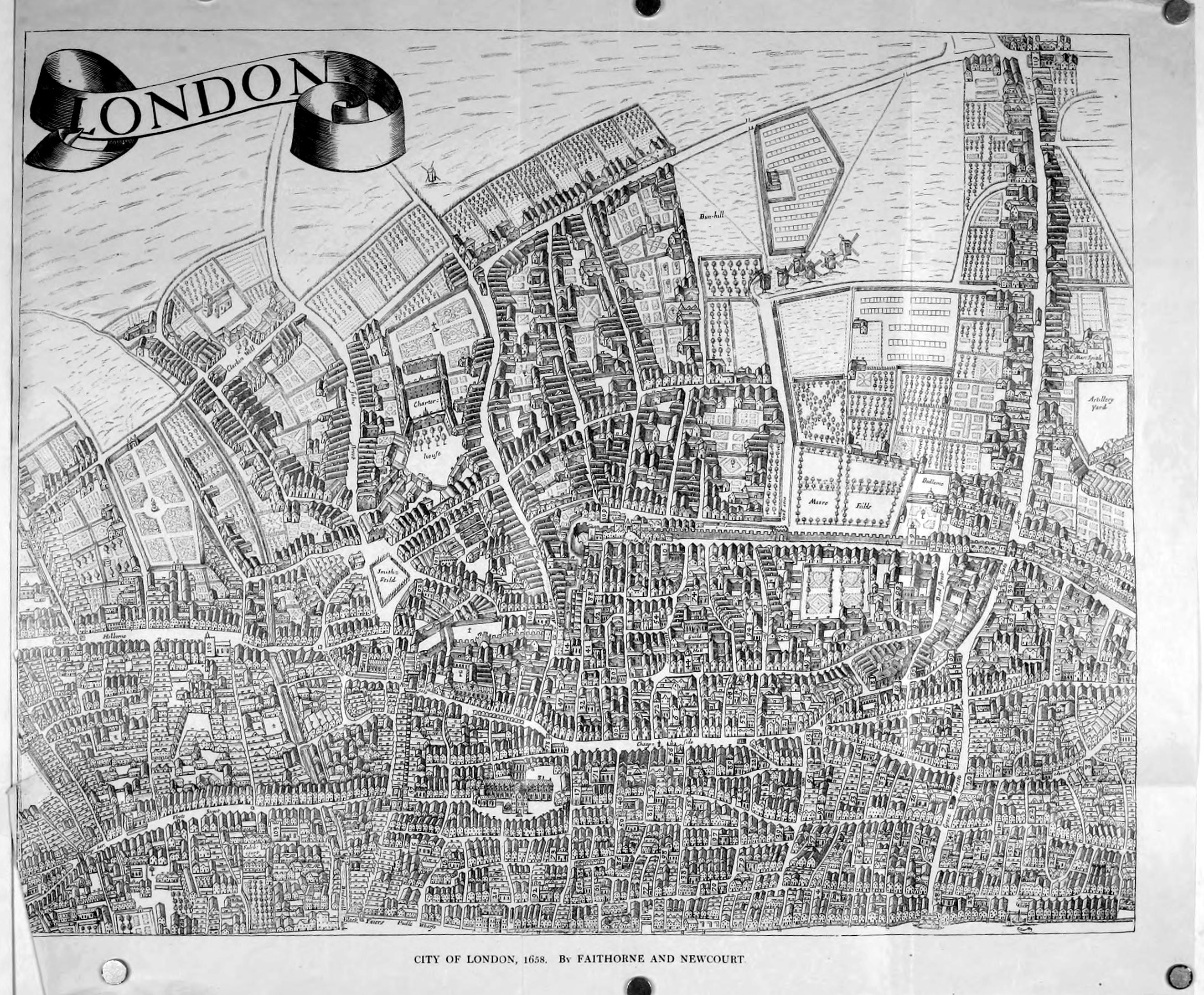 William Faithorne's 1658 map of London. Image courtesy of Wikimedia Commons.