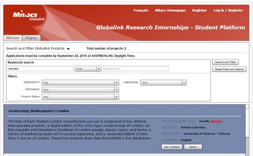 Screenshot of Mitacs GRI