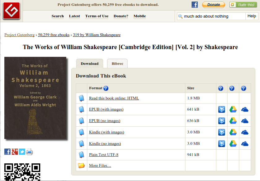 Screen capture of The Works of William Shakespeare on Project Gutenberg.