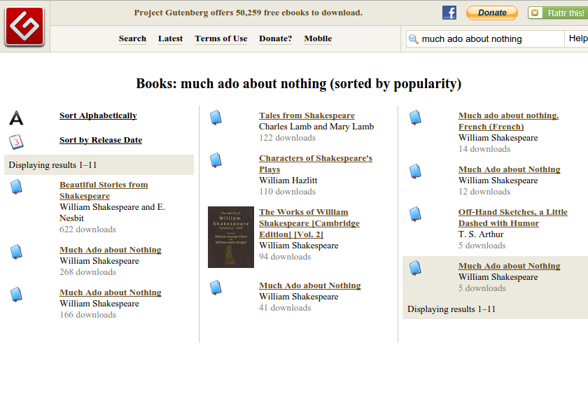 Screen capture of search results for Much Ado About Nothing on Project Gutenberg.