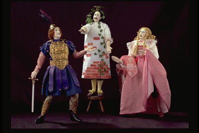 Pyramus (Nick Bottom), Thisbe (Francis Flute), and Wall (Tom Snout) in 5.1 of A Midsummer Night's Dream. Image courtesy of Canadian Adaptations of Shakespeare Project.