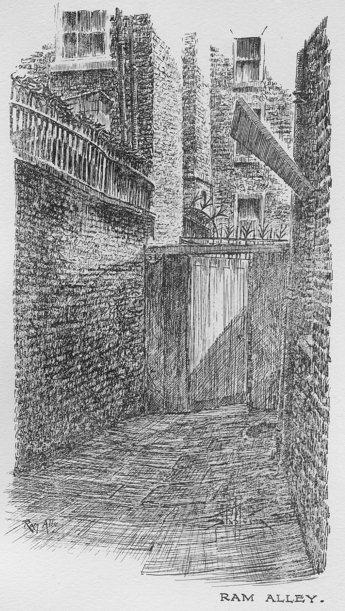 Lithograph of Ram Alley from Stapleton (1924).