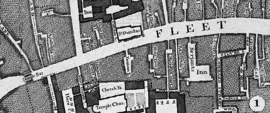 The Rocque map (1676), showing Ram Alley. Image courtesy of Locating London's Past.