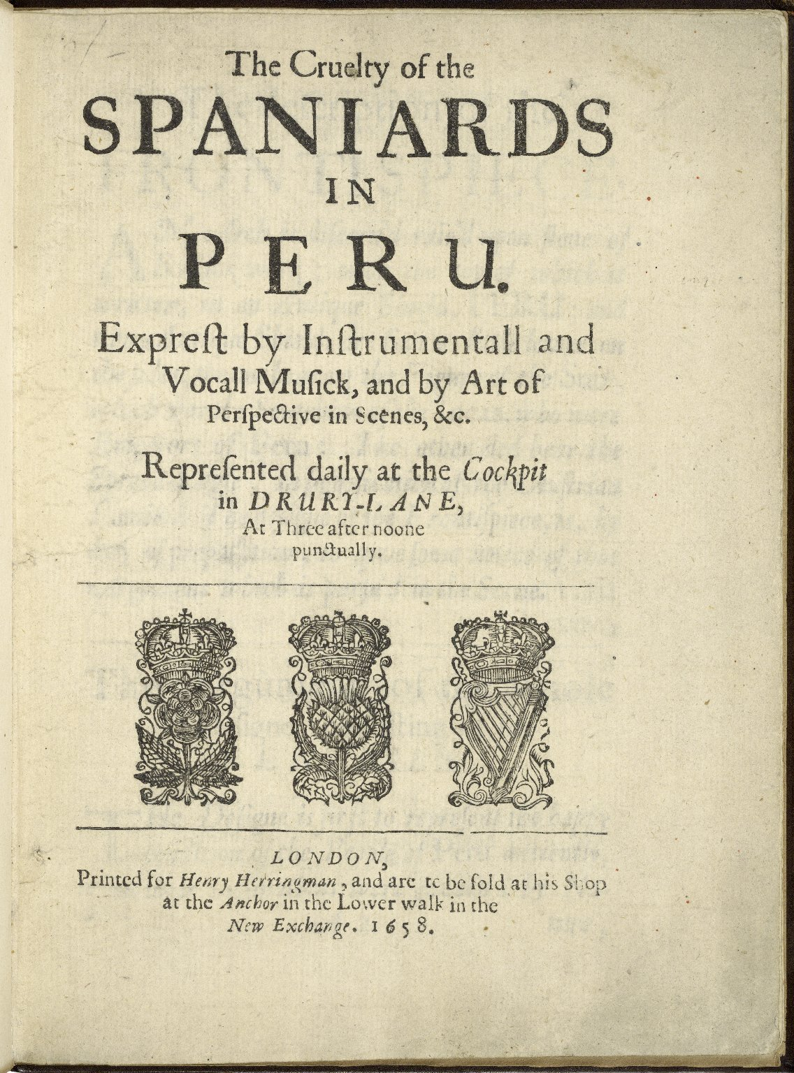 Title page of The Cruelty of the Spaniards in Peru (1658). Image courtesy of LUNA at the Folger Shakespeare Library.