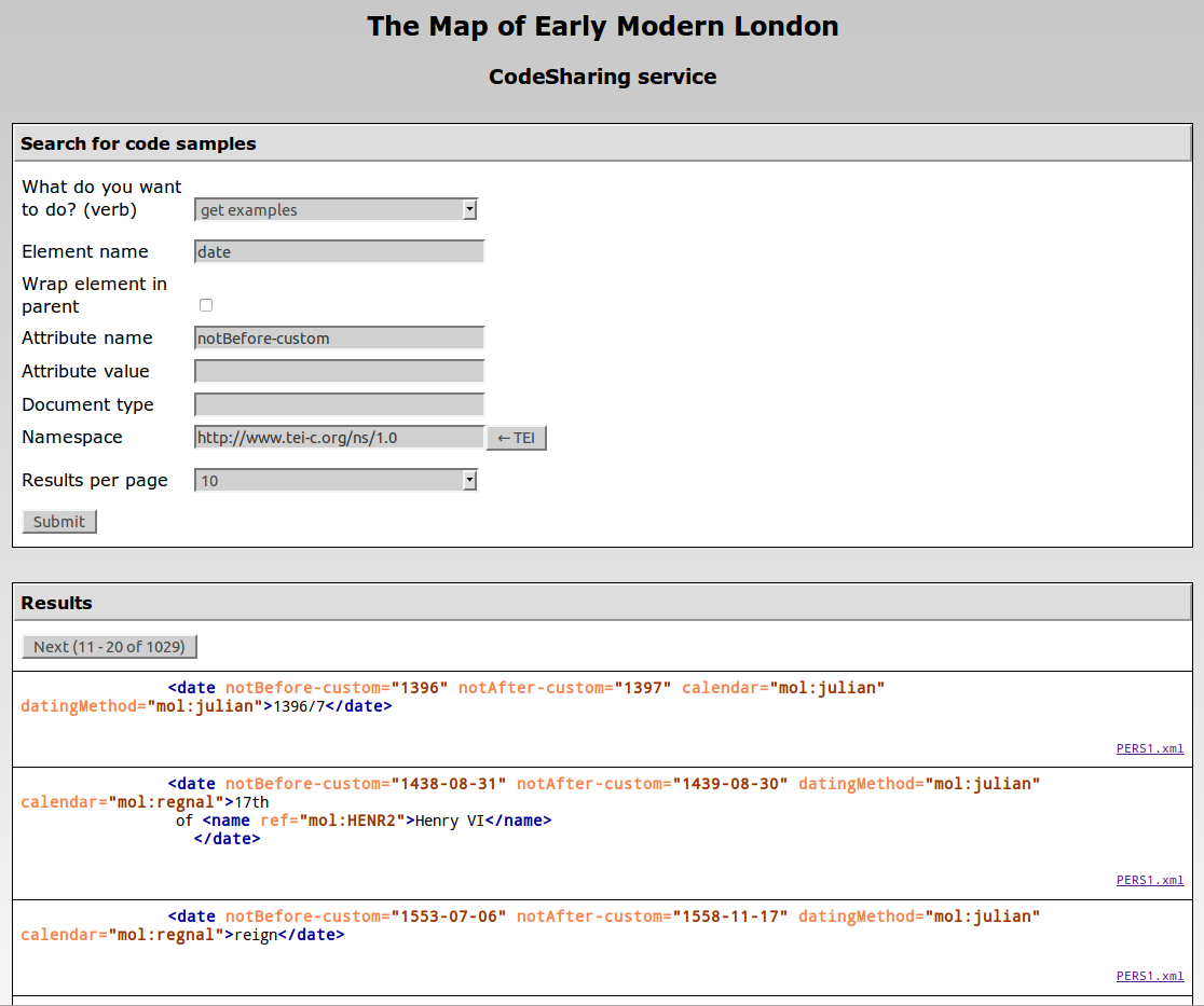 The Web interface of the CodeSharing service on the MoEML site.