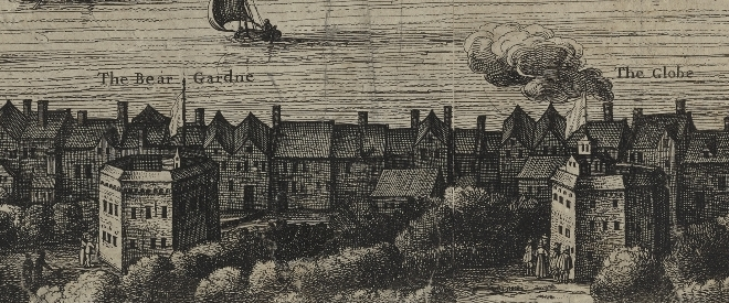 The Bear Garden (left) and the Bull Baiting arena (right) as depicted by Visscher's  map of1616. Image courtesy of the Folger Digital Image Collection.