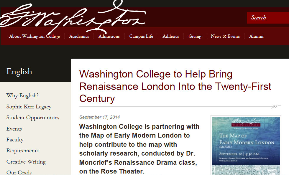 Washington College news story on MoEML Pedagogical