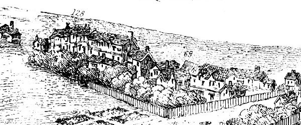 The Bankside stews as depicted by Wyngaerde's panorama of 1543. Image courtesy of Wikimedia Commons.